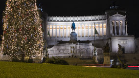 Vittoriano, Piazza venezia in a night of christmas Stock Photo