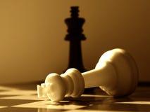 Vittorie del nero del piano d'azione di scacchi Fotografia Stock Libera da Diritti