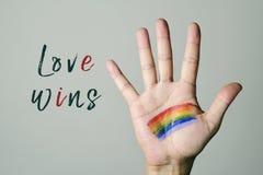 Vittorie di amore della bandiera e del testo dell'arcobaleno immagine stock