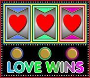 Vittorie di amore dello slot machine Fotografia Stock Libera da Diritti