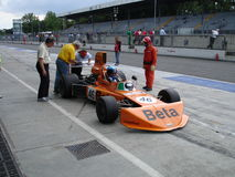 Vittorio Brambilla's march. 1975 march 751 in the pits of Monza. This same car won a wet Austrian GP in 1975 with the driver Vittorio Brambilla Royalty Free Stock Images