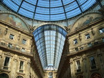 Vittorio Emanuele Gallery. Milan, Italy. Renascence style built in 19th century. One of the oldest  shopping malls in town, it combines art, culture, and Royalty Free Stock Photo