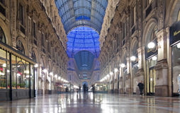 Vittorio Emanuele Gallery night interior Royalty Free Stock Photography