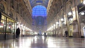 Vittorio Emanuele Gallery night interior stock video footage