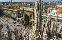 Vittorio Emanuele Gallery and piazza del Duomo in Milan Royalty Free Stock Photos