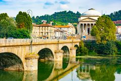 Vittorio Emanuele I bridge and Great Mother of God cathedral royalty free stock photography
