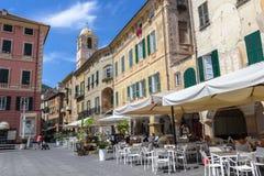 Vittorio Emanuele II° Square in Finale Ligure Savona ITALY. Finale Ligure SV, ITALY - August 24, 2017: Piazza Vittorio Emanuele II in Finale Ligure ITALY. On Royalty Free Stock Photo