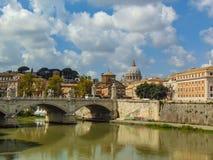 Vittorio Emanuele II Brug, Rome, Italië stock afbeeldingen