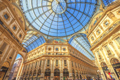 Vittorio Emanuele II Gallery Dome. Milan, Italy - March 7, 2017: vault cupola of the Galleria Vittorio Emanuele II arcaded mall in Dome square. Famous fashion Royalty Free Stock Photo