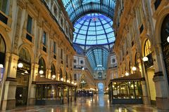 The Vittorio Emanuele II Gallery in Milan at dawn. Royalty Free Stock Photos