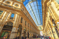 Vittorio Emanuele II Gallery vault. Milan, Italy - March 7, 2017: vault hall of the Galleria Vittorio Emanuele II gallery in Piazza Duomo square. Famous fashion Stock Photos