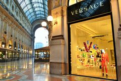 The Vittorio Emanuele II Gallery and Versace boutique in Milan. Royalty Free Stock Image