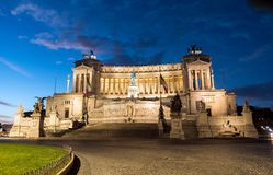 Vittorio Emanuele II Monument aka Altare della Patria as night falls in Rome royalty free stock photography