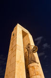 Vittorio Emanuele III. The statue of Vittorio Emanuele III Arena of Reggio Calabria at night Royalty Free Stock Photos