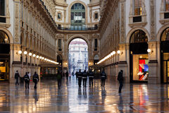 Vittorio Emanuele Milan gallery. Vittorio Emanuele gallery with shops and people Royalty Free Stock Photo
