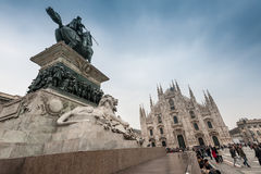 Vittorio Emanuele monument at the Piazza Duomo square Stock Image
