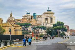 Vittorio Emanuele Monument, Rome, Italy. ROME, ITALY, DECEMBER - 2017 - Urban winter scene with famous Vittorio Emanuele II monument building as main subject Stock Photos