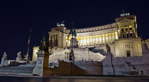 Vittorio Emanuele monument, Rome. Monument to Vittorio Emanuele II at night, Rome, Italy Royalty Free Stock Photos