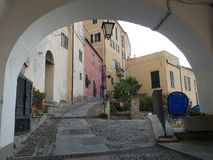 Medieval village of Cervo. Vittorio Emanuele square in the medieval village of Cervo, Liguria, Italy Stock Photography