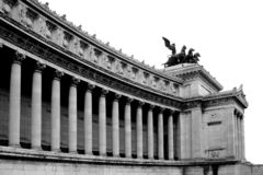 The Vittorio Emanuelle monument in Rome. The monument over King Vittorio Emanuelle II in Rome, Italy. Black and white, isolated Stock Image