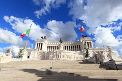 Vittorio Emanument II. View of the national ,monument a Vittorio Emanuele II on the the Piazza Venezia in Rome, Italy royalty free stock photos