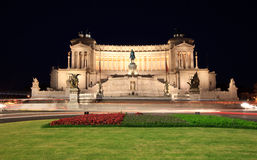 Vittorio Emmanuel at Piazza Venezia by night Royalty Free Stock Photo