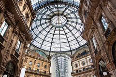 Vittorio Emmanuele gallery magnificent interior, Milan, Italy Royalty Free Stock Photo