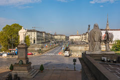 Vittorio Square and the oldest bridge of Turin, Italy Royalty Free Stock Images