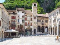 Vittorio Veneto main square with ancient arcades Stock Image