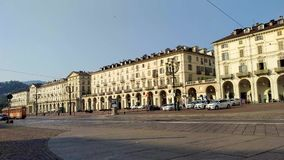 Vittorio Veneto square - Turin - Italy. Turin-Italy-July 8, 2017: Vittorio Veneto square is about 40,000 square meters. It is one of the largest in Europe stock video