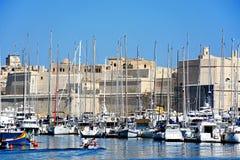 Vittoriosa小游艇船坞和堡垒St安吉洛,马耳他 免版税库存图片