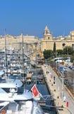 Vittoriosa,马耳他,有它的小游艇船坞的 免版税图库摄影
