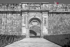 Vittoriosa Advanced Gate in Birgu, Malta. The Advanced Gate in Birgu featuring one of the most famous old fortifications in Malta Stock Photography