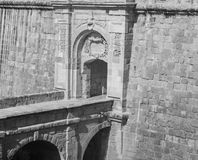 Vittoriosa Advanced Gate. The Vittoriosa Advanced Gate in monochrome located in Birgu, Malta is the second of the three main gates, located on the right face of Stock Photos