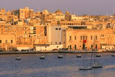 Vittoriosa au coucher du soleil, Malte Image stock