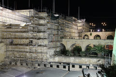 Vittoriosa(Birgu)City bastions  in 2013. Work commences on the restoration of the City walls of Birgu(Vittoriosa) in 2013 Stock Photo