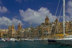 Vittoriosa en av de tre städerna av Malta Royaltyfri Fotografi