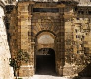 Vittoriosa Gate of Provence. The Vittoriosa Gate of Provence is the third and last of the three main gates, located on the inner flank of St. John Bastion in Royalty Free Stock Photos
