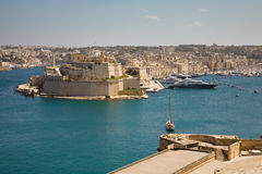Vittoriosa, Malta. A view on Birgu or Vittoriosa across the Grand Harbour from Valletta, Malta Royalty Free Stock Photo