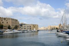Vittoriosa one of the three cities across Valletta bay on Malta. Vittoriosa, Malta - 31 October 2017: Vittoriosa one of the three cities across Valletta bay on Stock Photography