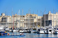 Vittoriosa marina and Fort St Angelo, Malta. View of Senglea and Vittoriosa marina and waterfront buildings with views towards Fort St Angelo, Vittoriosa Birgu Royalty Free Stock Images