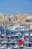 Vittoriosa marina, Malta. Elevated view of Vittoriosa marina with views towards Valletta, Vittoriosa Birgu, Malta, Europe Stock Photography