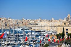 Vittoriosa marina, Malta. Elevated view of Vittoriosa marina and waterfront with views towards Valletta, Vittoriosa Birgu, Malta, Europe Royalty Free Stock Photos