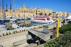 Vittoriosa marina with Senglea to the rear, Malta. Stock Image
