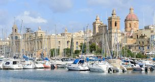 Vittoriosa one of the three cities across Valletta bay, Malta. Vittoriosa, Malta - 31 October 2017: Vittoriosa one of the three cities across Valletta bay on Royalty Free Stock Photography