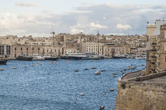 Vittoriosa seafront as seen from Senglea, Malta Royalty Free Stock Photo