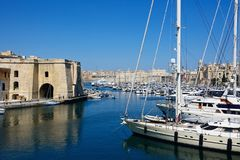 Vittoriosa and Senglea marina, Malta. View of Vittoriosa and Senglea marina with views towards Valletta, Vittoriosa Birgu, Malta, Europe Royalty Free Stock Image