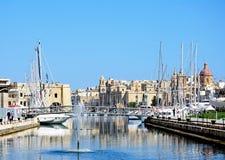 Vittoriosa and Senglea marina, Malta. View of Vittoriosa marina and waterfront with Senglea to the left hand side, Vittoriosa Birgu, Malta, Europe Royalty Free Stock Photos