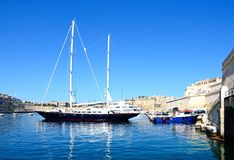 Vittoriosa and Senglea marina, Malta. View of yachts moored in the marina with views towards Senglea to the left, Vittoriosa to the right and Valletta to the Stock Image