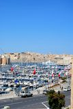 Vittoriosa waterfront and marina, Malta. Elevated view of Vittoriosa waterfront and marina with views towards Senglea and Valletta, Vittoriosa Birgu, Malta Royalty Free Stock Photo